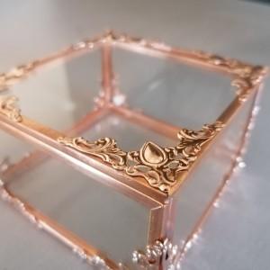 Pudełko szklane, miedziane, Rose Gold, szkatułka, organizer, na obrączki, glamour,