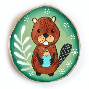 Bóbr ilustracja malowana na drewnie
