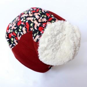 czapka damska dzianina z futrem