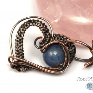 Akwamaryn, Miedziany wisior z akwamarynem, ręcznie wykonany, prezent dla niej, prezent dla mamy prezent urodzinowy niepowtarzalna biżuteria