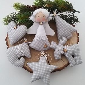 Komplet zawieszek świątecznych- szara krateczka