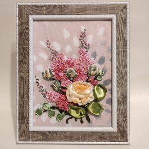 Wstążką malowane - Róża i bez