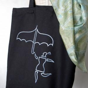 Torba  bawełniana ręcznie malowana Ona z Parasolką czarna