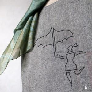 Torba  bawełniana ręcznie malowana Ona z Parasolką szara melanż