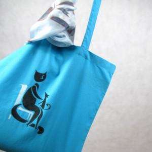 Torba  bawełniana ręcznie malowana Kot i Pies niebieska