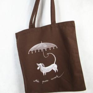 Torba  bawełniana ręcznie malowana Pies i Parasol brązowa