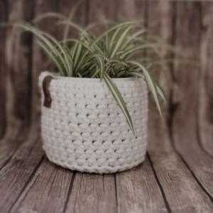 Koszyk ze sznurka bawełnianego kremowy rozm.XS