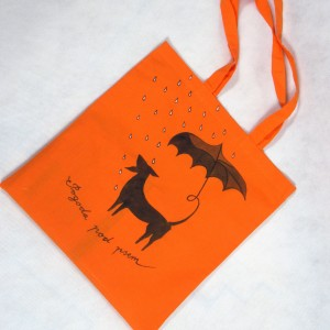 Torba  bawełniana ręcznie malowana Pies i Parasol pomarańczowa
