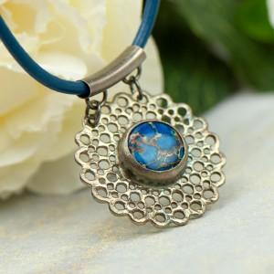 In blue naszyjnik ze srebra z jaspisem a864