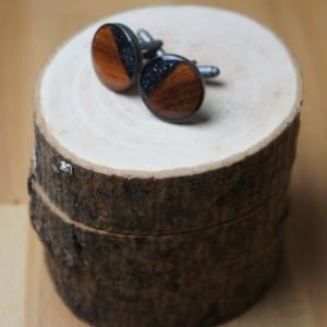 Drewniane spinki do mankietu z węglikiem krzemu