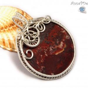 Agat koronkowy, srebrny wisior z agatem crazy lace, ręcznie wykonany, prezent dla niej, prezent dla mamy, prezent urodzinowy, biżuteria