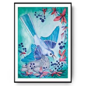 Blueberry bird 50x70