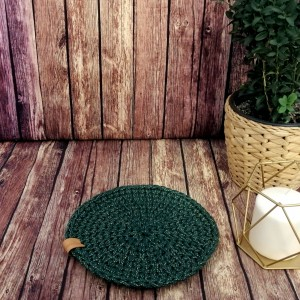 Okrągła podkładka na stół,zielona,świąteczna.