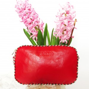 Skórzana torebka-bransoletka czerwona