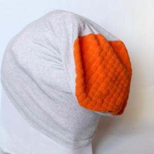 czapka dzianinowa szaro pomarańczowa