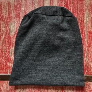 czapka męska grafitowa na podszewce