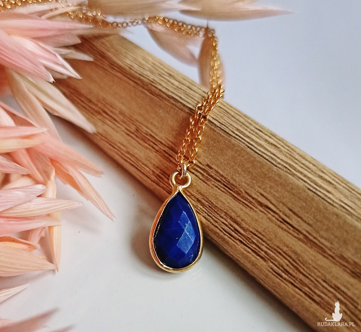 Naszyjnik Lapis Lazuli Srebro 925 Pozłacane