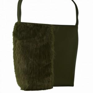 Oliwkowa torba z futerkiem