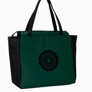 Torebka zielono czarna z haftem