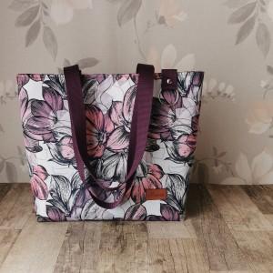 Torebka damska shopper na ramię wodoodporna handmade kwiaty magnolii