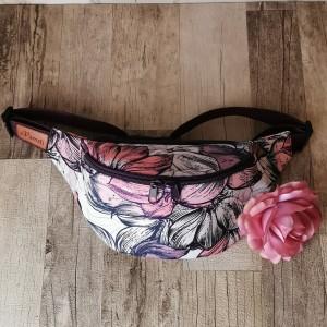 Nerka saszetka biodrowa wodoodporna handmade torebka na pas torebka na ramię torebka mini kwiaty magnolii