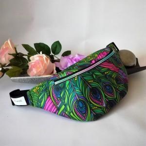 Nerka saszetka biodrowa wodoodporna handmade torebka na pas torebka na ramię pawie pióra