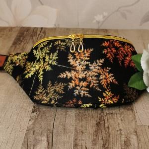 Nerka saszetka biodrowa wodoodporna handmade torebka na pas torebka na ramię liście paproci