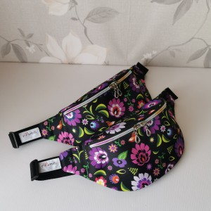 Nerka saszetka biodrowa wodoodporna handmade torebka na pas torebka na ramię fioletowy łowicz