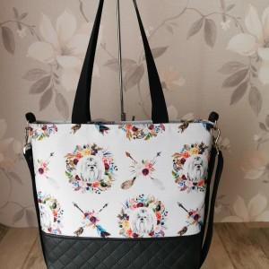 Torebka damska shopper bag na ramię do ręki ekoskóra wodoodporna handmade - pieski shih tzu boho
