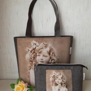 Torebka damska shopper bag  wodoodporna  - dziewczynka retro + kosmetyczka