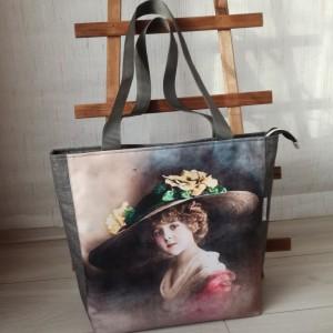 Torebka damska shopper bag na ramię wodoodporna handmade - kobieta w kapeluszu + kosmetyczka