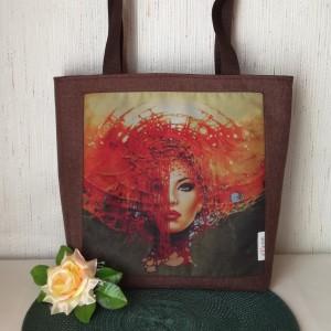 Torebka damska wodoodporna shopper bag na ramię handmade ruda dama