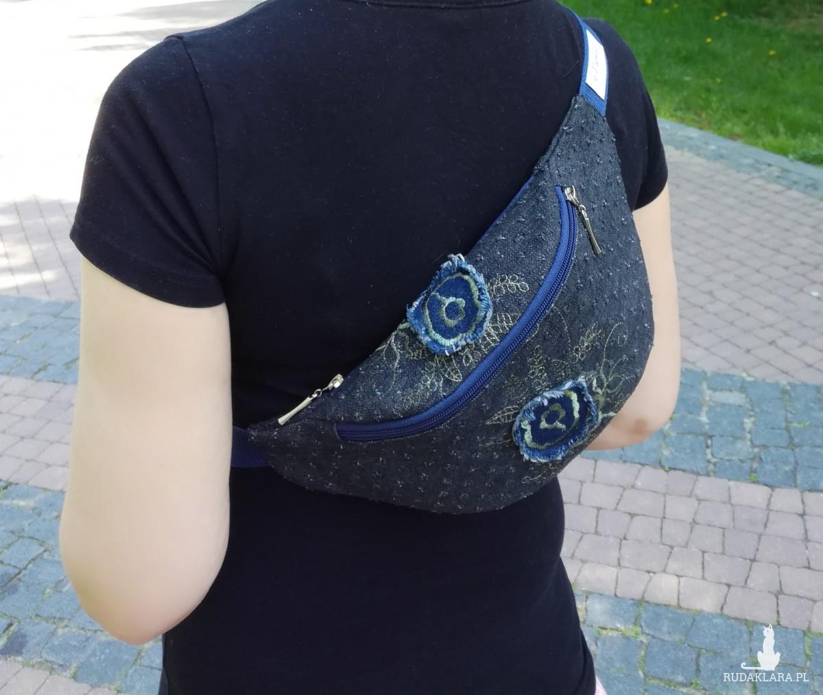Nerka saszetka biodrowa wodoodporna handmade torebka na pas torebka na ramię denim z haftem jeans