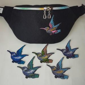 Nerka saszetka biodrowa wodoodporna handmade torebka na pas torebka na ramię pikowana czarna z ptakiem ( zamówienie )