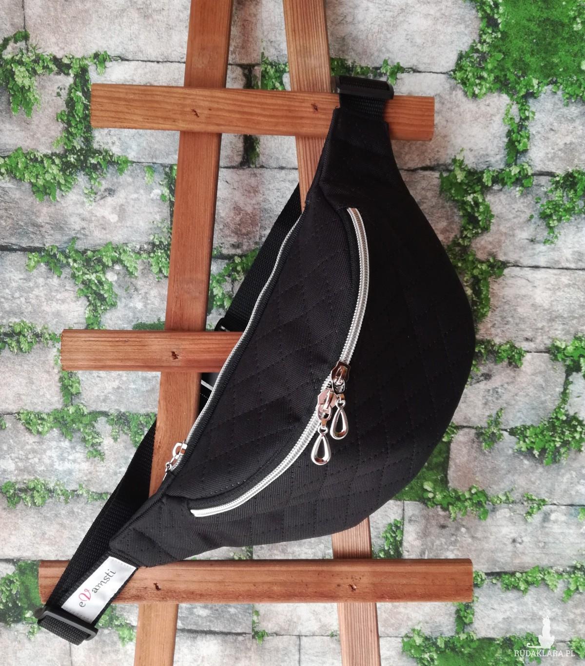Nerka saszetka biodrowa wodoodporna handmade torebka na pas torebka na ramię czarna pikowana ( zamówienie )