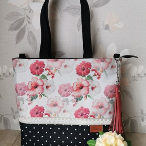 Torebka damska wodoodporna shopper bag na ramię torebka do ręki torebka na zakupy handmade romantyczne czerwone kwiaty
