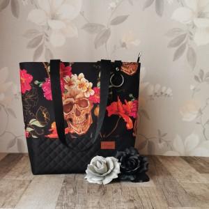 Torebka damska wodoodporna shopper bag na ramię torebka do ręki torebka na zakupy handmade czaszki w kwiatach