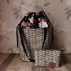 Torebka damska wodoodporna shopper bag z kominem w róże na ramię torebka do ręki  handmade + kosmetyczka