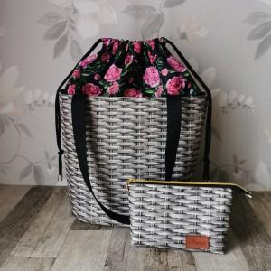 Torebka damska wodoodporna shopper bag z kominem różowe piwonie torebka  na ramię torebka do ręki  handmade + kosmetyczka
