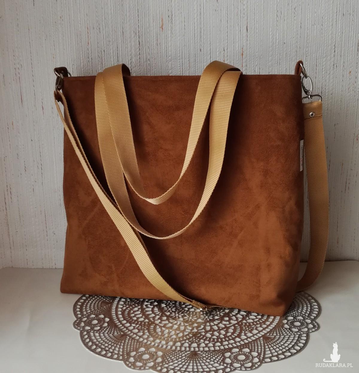 Torebka damska wodoodporna shopper bag torebka na ramię torebka do ręki handmade nubuk zamsz karmel