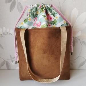 Torebka damska wodoodporna shopper bag torebka z kominem torebka na ramię torebka do ręki handmade nubuk zamsz karmel