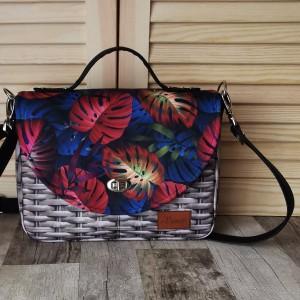 Torebka damska wodoodporna torebka na ramię torebka do ręki handmade torebka z klapką listonoszka liście