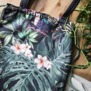 Plecak torba 2w1 czarna botaniczny wzór