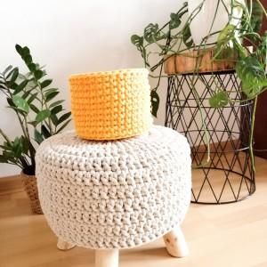 Koszyk 17x14cm,sznurek bawełny,szary,żółty.