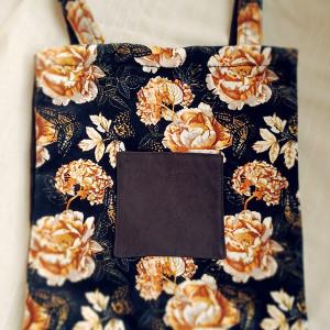 Czarna torba Double w złote róże