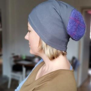 czapka damska szara z niebieskim