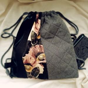 Plecak XL pikowany w kwiaty