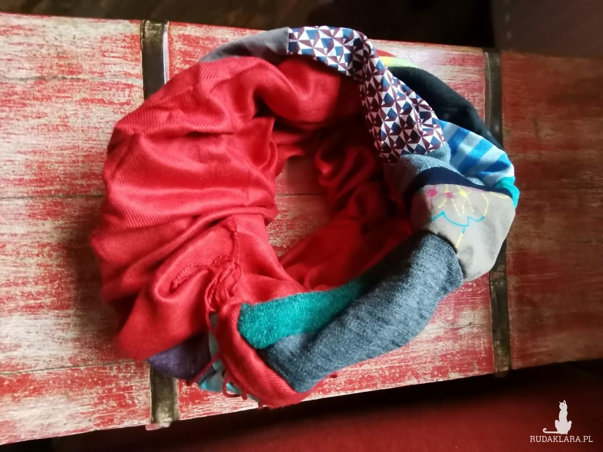 komin patchworkowy boho handmaowy odcienie brązu i szarości