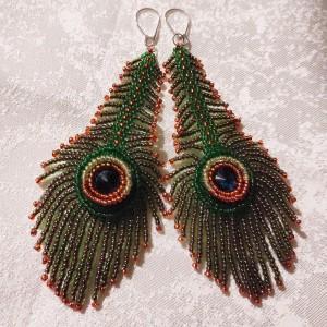 Kolczyki -Pawie pióra