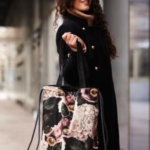 Plecak torba 2w1 czarna w kwiaty